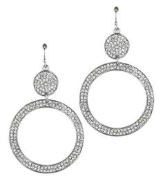 Pave crystal circle earrings - silver (or gold)