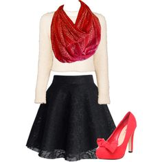 A fashion look from October 2014 featuring crewneck sweaters, lace skirts and red pumps. Browse and shop related looks. Infinity Scarf Outfits, Moonlight, Skater Skirt, Fashion Inspiration, Coral, Dots, Shoe Bag, Polyvore, Skirts