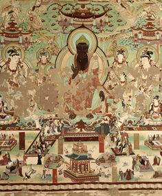 Murals in Yulin Caves, Dunhuang, China black buddha Traditional Paintings, Traditional Art, Chinese Painting, Chinese Art, Tempera, Fresco, Ajanta Caves, Dunhuang, Tibetan Art