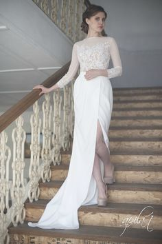Long Wedding Dress, White and Nude Wedding Dress, Crepe and Lace Dress L10(with long and short skirt)