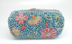 Gift Box Lady Blue Crystal Minaudiere Handbag Metal Clutches Purse Fruit Clutch Bag Women Bling Bling Evening Bag Wedding Bags
