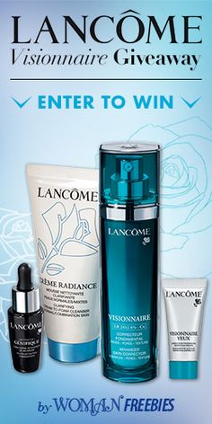 Win a #Lancôme Visionnaire #Skincare Set from #WomanFreebies! #beauty #sweeps