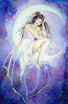 """She said, I want a moon goddess. Over half a year later, here it is. Water Color """"Fairy Dust"""" Glitter"""