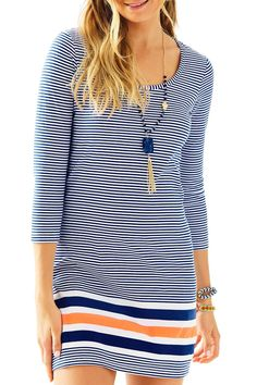 """We love t-shirt dresses so much, we'll wear them day or night. The striped Beacon Dress has a scoop neckline and a 3/4 sleeve that can be worn running around town all day, or at night for a casual outdoor family dinner. You're never going to want to take this dress off.    Measures: 19.5"""" natural waist to hem   Beacon T-Shirt Dress by Lilly Pulitzer. Clothing - Dresses - Printed Sandestin Golf and Beach Resort, Florida"""