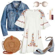 how to build summer wardrobe, summer outfit ideas, how to wear dress, summer dresses, denim jacket, free people dress, steve madden sandals, straw circular bag, women fashion
