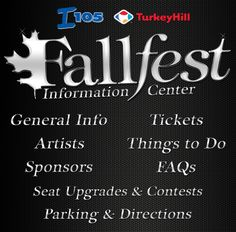 General Info - Tickets - Artists - Things to Do - Sponsors - FAQs - Seat Upgrades & Contests - Parking & Directions