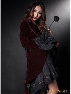 Wine Red Velvet Gothic Swallow-Tailed Coat for Women