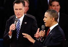 Image: (From left) Republican presidential candidate Mitt Romney & President Obama speak during the second presidential debate on Tuesday (© Charles Dharapak/AP)