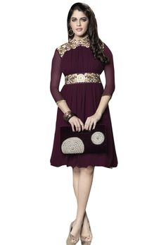 Readymade Wine Georgette Kurti  #valentine #gift #valentine'sday #love #lovely #beautiful#Trendy #kurti #kurta #readymade #printed #kurtionline #womenwear #womenclothing #nikvik #usa #uk #uae #freeshipping price-US$41.42.  Sign up and get USD100 worth vouchers.Offer is valid for limited period.