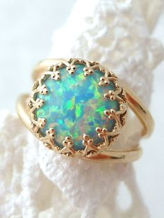 Mint opal ring | Gold plated ring Gemstone ring by EldorTinaJewelry | http://etsy.me/1Gj9BrL