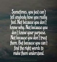"This is so true and when you try to make them understand, it makes you feel stupid or pathetic so in the end you don't say anything except ""I'm fine"""