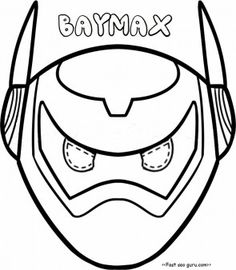 Printable big hero 6 baymax armor mask coloring pages cut out ...