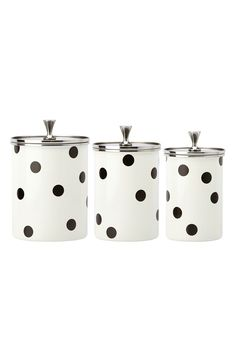 Signature Kate Spade dots stand out on this set of three storage canisters that make a charming addition to the kitchen décor.
