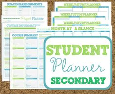 INSTANT DOWNLOAD Student Planner- Secondary Study Printables-11 Sheets Class Planners. By HappyOrganizedLife on Etsy.