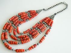 Berber wedding dowry yemen coral and silver necklace