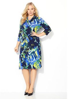 862b9877d0f Cowlneck Abstract Watercolor Dress