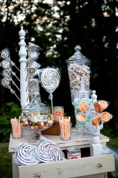 This is a major trend in weddings right now but I LOVE the idea of having a candy bar at the reception.