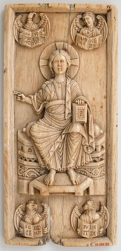 Christ in Majesty & Tetramorph [11th cent) ivory