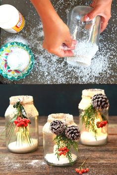 $1 snowy DIY mason jar centerpieces in 5 minutes: easy & beautiful winter wonderland crafts & decorations for weddings, holidays, Thanksgiving & Christmas! #farmhouse farmhouse decor, #diy #homedecor #homedecorideas #masonjars mason jar crafts, #craft #crafts christmas crafts, centerpiece, home decor, snow, winter