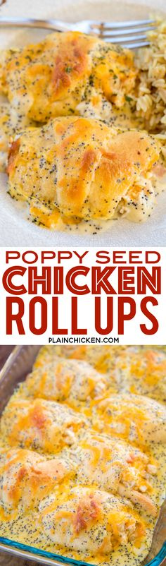 Poppy Seed Chicken Roll Ups - heaven in a pan! Chicken and cream cheese wrapped in crescent rolls and topped cream of chicken soup, milk, cheese and poppy seeds. These are on the menu at least once a month! Everyone gobbles these up - we never have any l Cream Cheese Chicken, Cream Of Chicken Soup, Crescent Roll Recipes, Crescent Rolls, Food Dishes, Main Dishes, Poppy Seed Chicken, Chicken Roll Ups, Cheese Wrap
