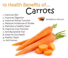 10 Health Benefits of Carrots. 10 Health Benefits of Fruits, Veggies, Nuts & Seeds, Grains and Legumes Carrot Benefits, Fruit Benefits, Coconut Health Benefits, Health Benefits Of Carrots, Benefits Of Vegetables, Carrots Nutrition, Vegetable Benefits, Healthy Teeth, Healthy Tips