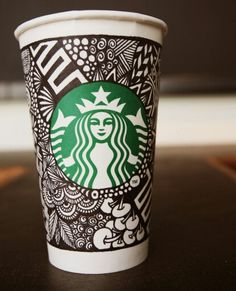 Starbucks Unveils The White Cup Contest Winning Design (and a look at some other submissions). Starbucks Cup Art, Starbucks Siren, Coffee Cup Art, Sharpie Art, Sharpie Markers, Coloring Book Art, Promotional Giveaways, White Cups, Design Competitions