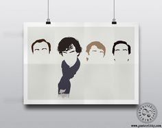 Sherlock Character Heads minimalist poster art by Posteritty Benedict Cumberbatch and Martin Freeman Silhoutte Hair