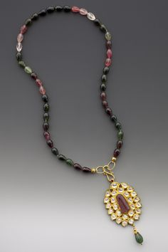 Elle Schroeder Mughal-style pendant with diamonds and pink tourmaline cabochon, Watermelon tourmaline drop string