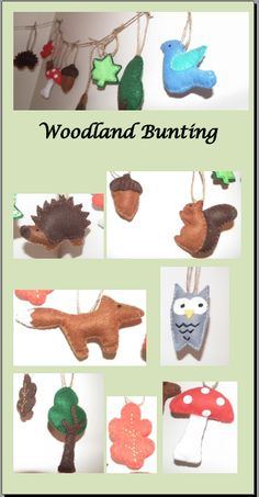 Woodland Bunting/Garland - I made these from felt, stitched them together and then stuffed. #DIY #Kids