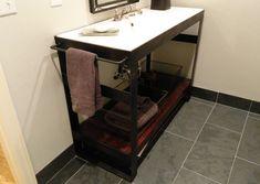 Denver Colorado industrial steel bathroom vanity washstand sink stand modern bathroom decor