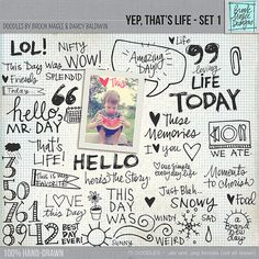 Life Everyday Digital Doodle Photoshop Brushes. PNG and ABR Pocket Style Wordart and Clipart Embellishments. Set 1.