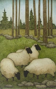 Little Flock by Kathleen Buchanan - sheep in a field by the woods - I like the background