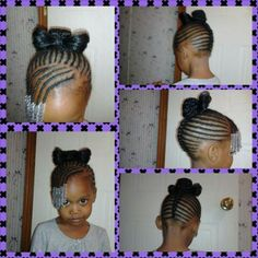 "Cornrows Mohawk with bangs for little girl.  Notice the Beautiful ""bow"" up top!"
