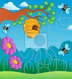 Wall Mural Bee theme maze