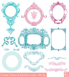 Vintage Frames Borders & Elements Clipart set with by PoodeDesigns