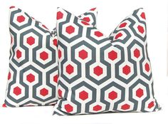 Decorative Throw Pillow Cover One All Sizes Red Pillows Honeycomb Pattern Ruby Red and Charcoal Gray Home Decor via Etsy