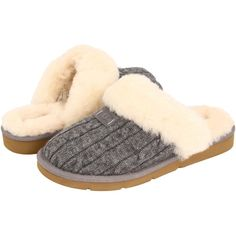 UGG Cozy Knit (Heathered Grey) Women's Slippers ($65) ❤ liked on Polyvore featuring shoes, slippers and grey