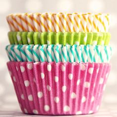 A wide array of party supplies including cupcake liners, paper straws, plates, napkins, gable boxes, etc.  Love it!