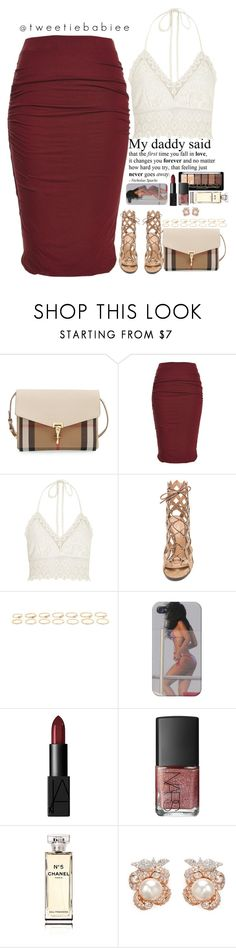 """""""goodnight pals."""" by tweetiebabiee ❤ liked on Polyvore featuring Burberry, River Island, Gianvito Rossi, Forever 21, NARS Cosmetics, Chanel and Anabela Chan"""