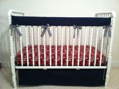 """Trending now is the """"bumperless"""" crib set.  A teething pad (or otherwise called a teething bumper) is very popular now with nursery crib bedding.  Custom made by Posh Petites Boutique.  https://www.facebook.com/poshpetitesboutique"""