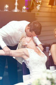 A romantic reception kiss! Photo by Ashley B. #weddingphotographerminnesota #weddingphotography