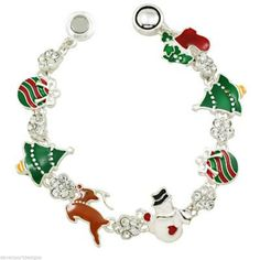 Christmas Tree Bracelet Magnetic Link Rudolph Ornament Snowman Holiday Jewelry #DavenportDesigns #MagneticLink