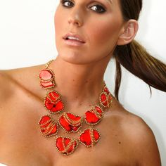 Statement necklace Red Turquoise statement by EzzaExclusive, $149.00