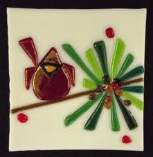 fused glass cardinal plate - Google Search
