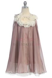 Click to enlarge : Mocha Chiffon Short Flower Girl Dress