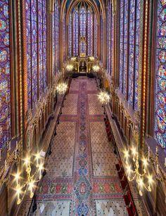 La Sainte-Chapelle, Ile de la Cité, Paris, France. A palatial chapel built 1242 -1248. Ordered by King Louis IX of France, known as Saint Louis, to house the relic if the Crown of Thorns.