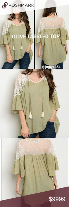 COMING SOON Olive  with cream mesh lace tasseled top. Beautifully made. More details to come!   Sizes available: S M L  LIKE TO BE NOTIFIED or COMMENT BELOW Tops