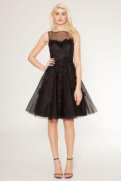 Black Sleeveless Tulle Dress from Teri Jon