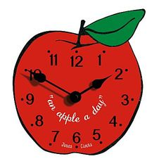 An Apple a Day .... this Red Apple Clock will remind you to eat one of your five a day!