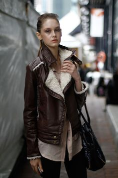 .. brown leather jacket ..